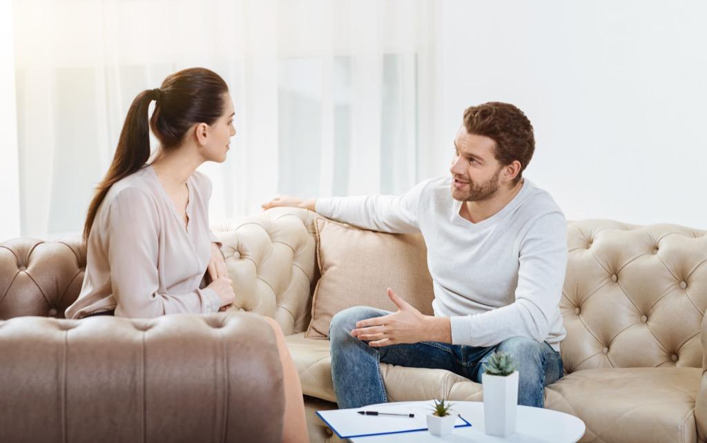 Couple chatting talking
