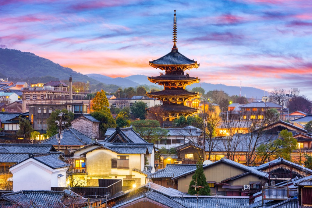 a sunset view of the rooftops and temples of kyoto, japan