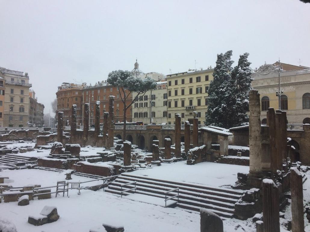 roman square in snow