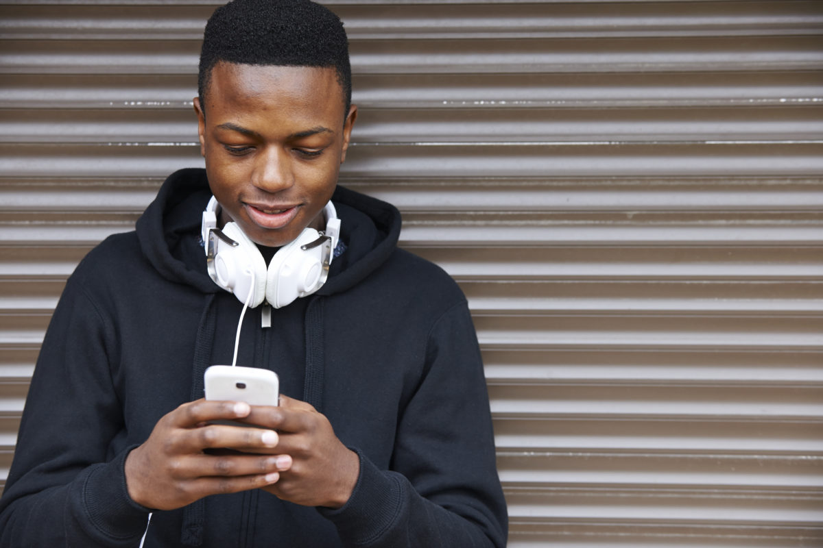 teenager on smartphone