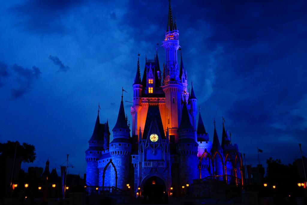 Disney cinderella castle at night