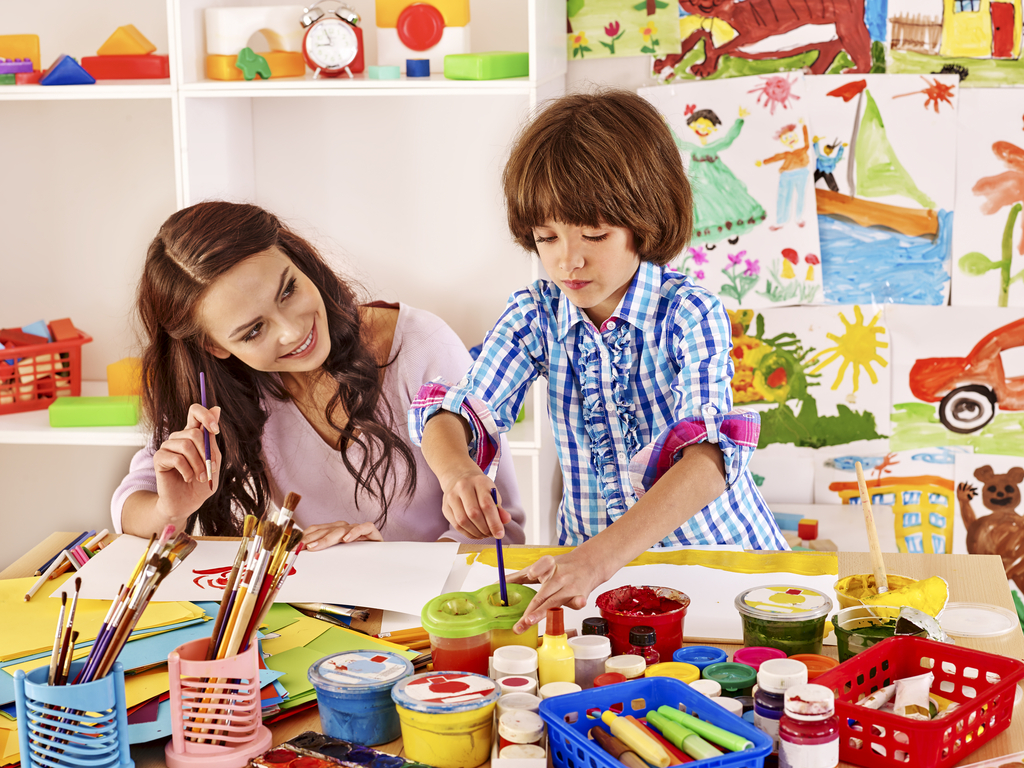 Mother and Son Painting Parenting