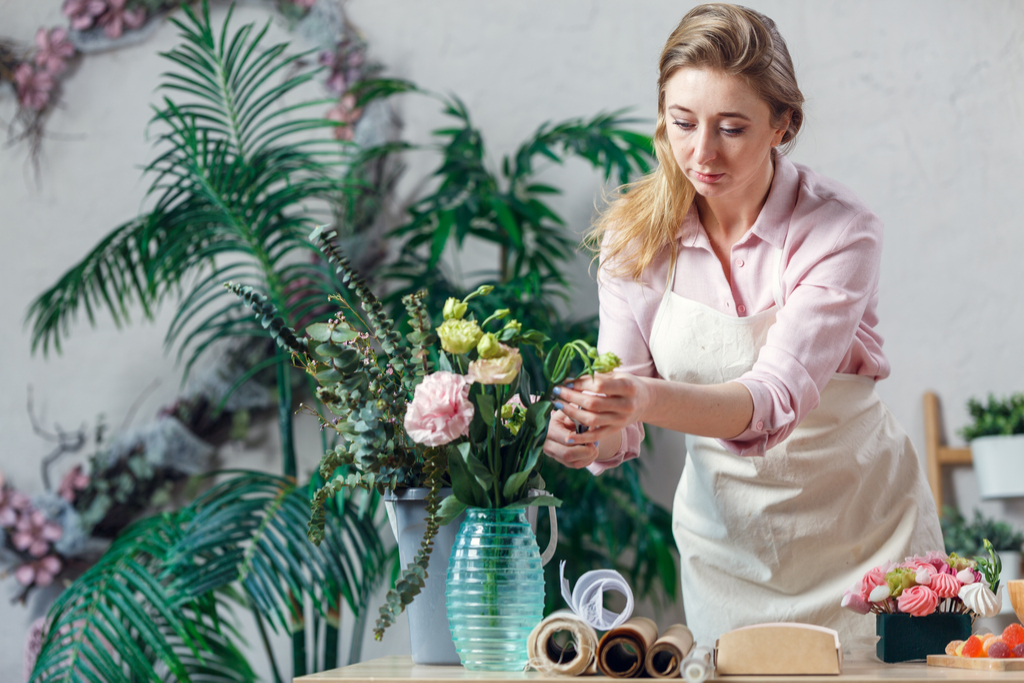Woman Making Floral Arrangement Work From Home Jobs