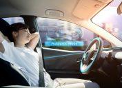 Woman Sleeping in Self Driving Vehicle Life in 100 Years