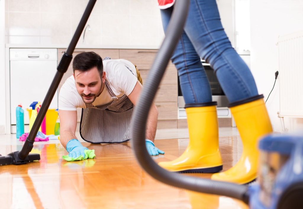 Couple cleaning