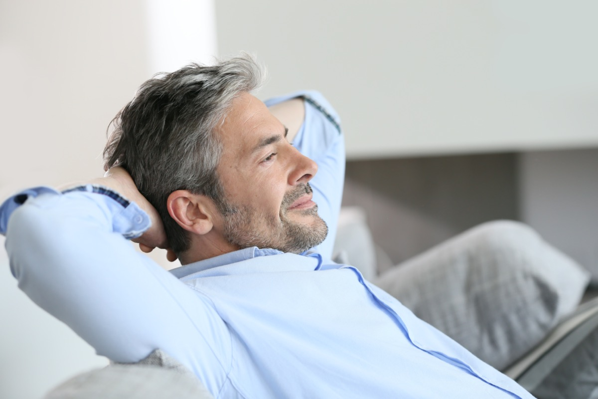 middle age man relaxing