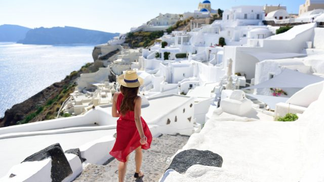 solo female traveler in santorini, quotes about travel
