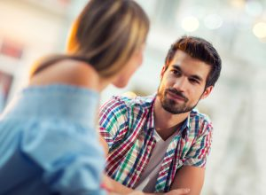 man looks at woman with love, how to tell if a guy likes you