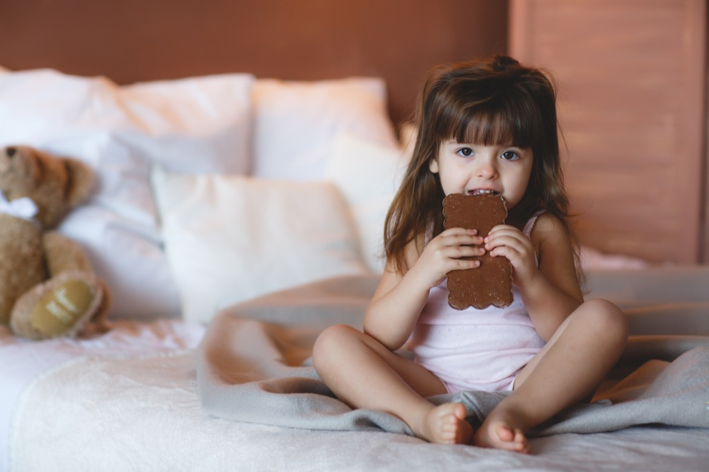 little girl eating chocolate, things that annoy grandparents