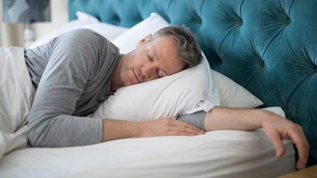 grey haired man sleeping, healthier man