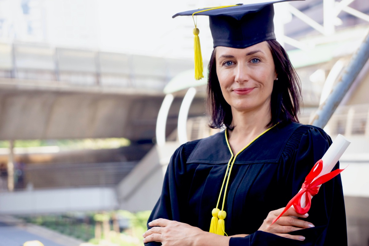 middle age woman graduating from university