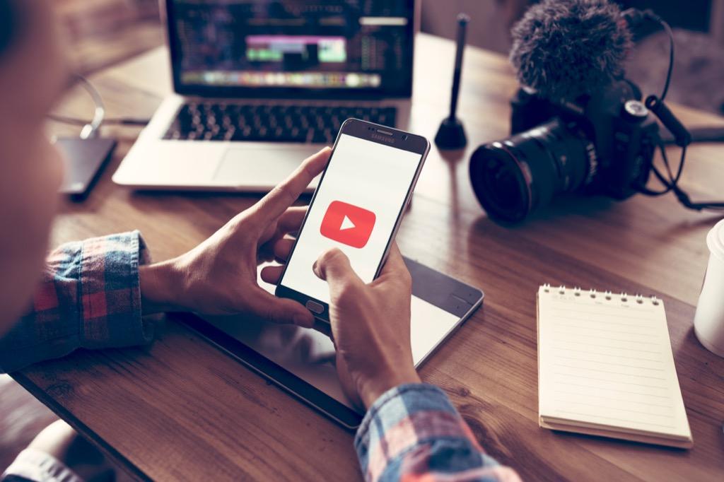 YouTube video on smartphone