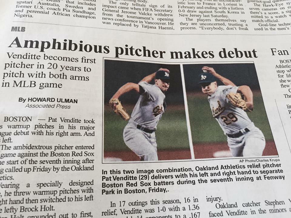 Amphibious pitcher makes debute funniest newspaper headlines