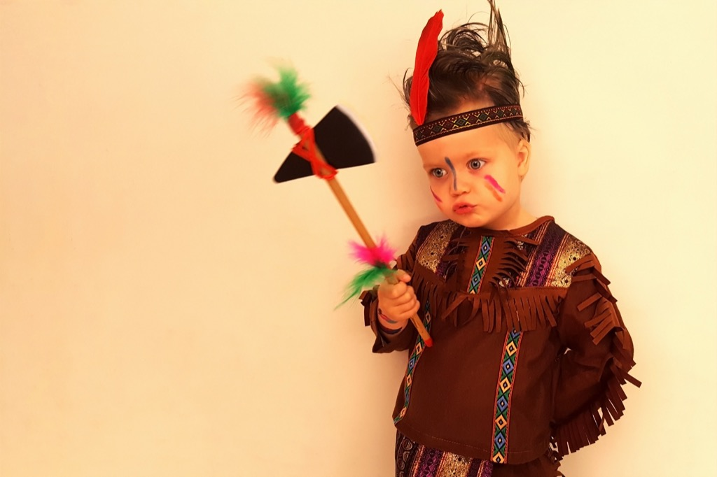 Boy Dressed as Native American School Lessons