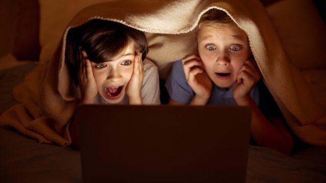 Children watching scary movie lies kids tell their parents