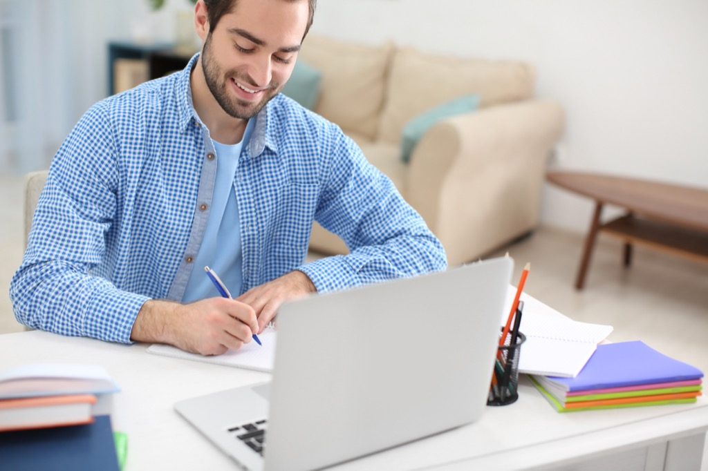 College Student Studying at Home 25 Years