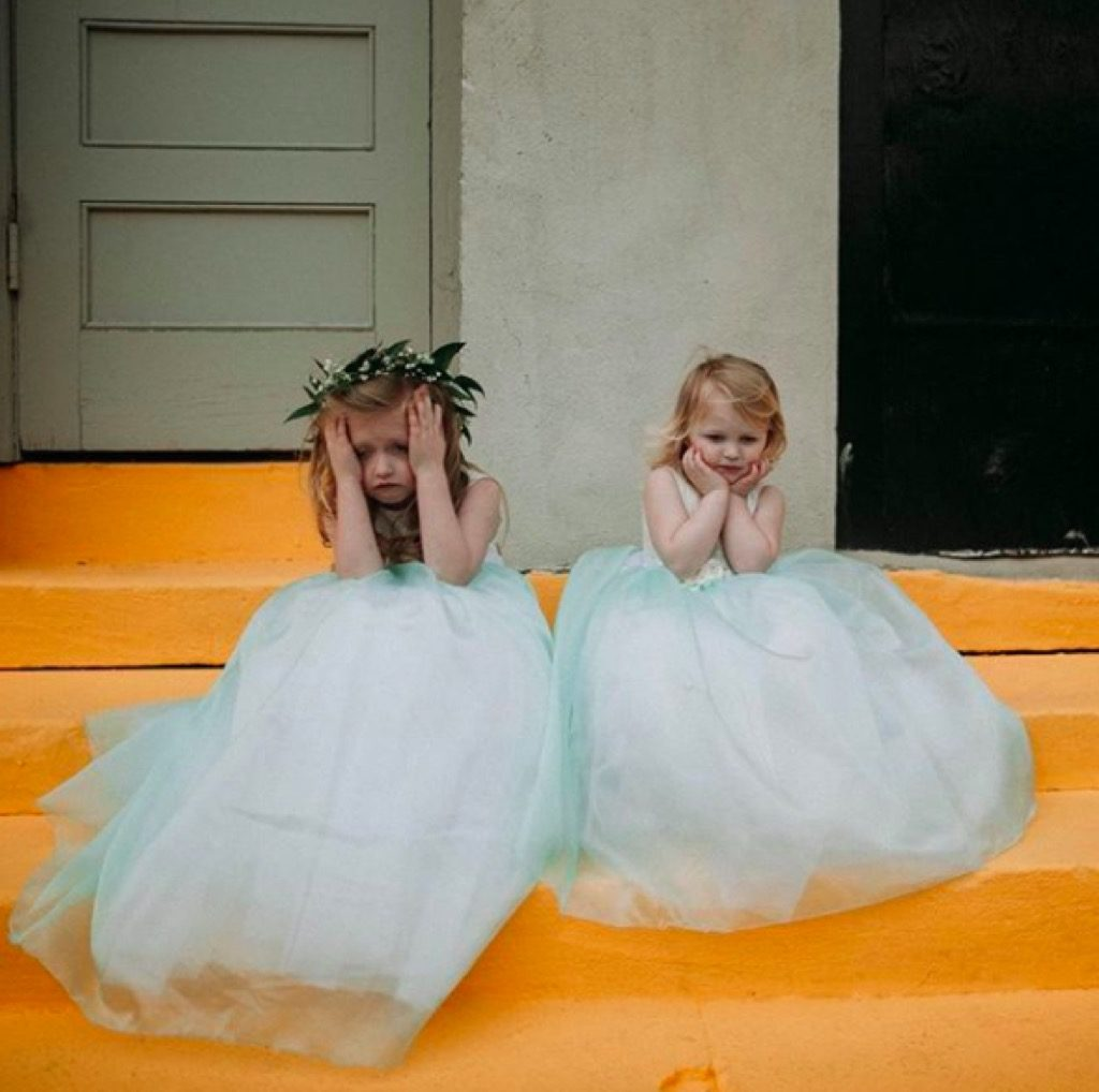 Girls in white dresses funny kid photos