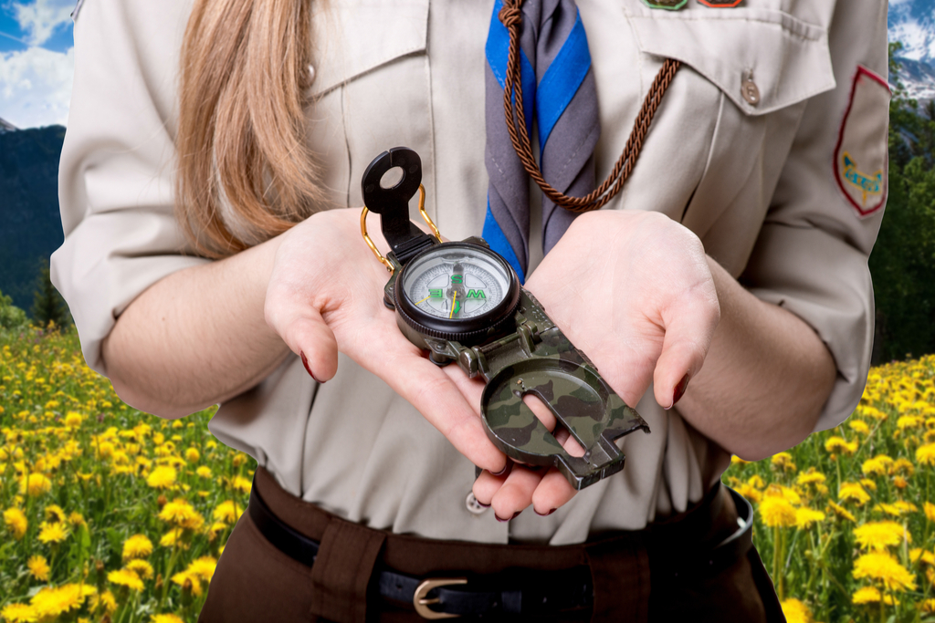 Girl Scout Holding Compass Daughter