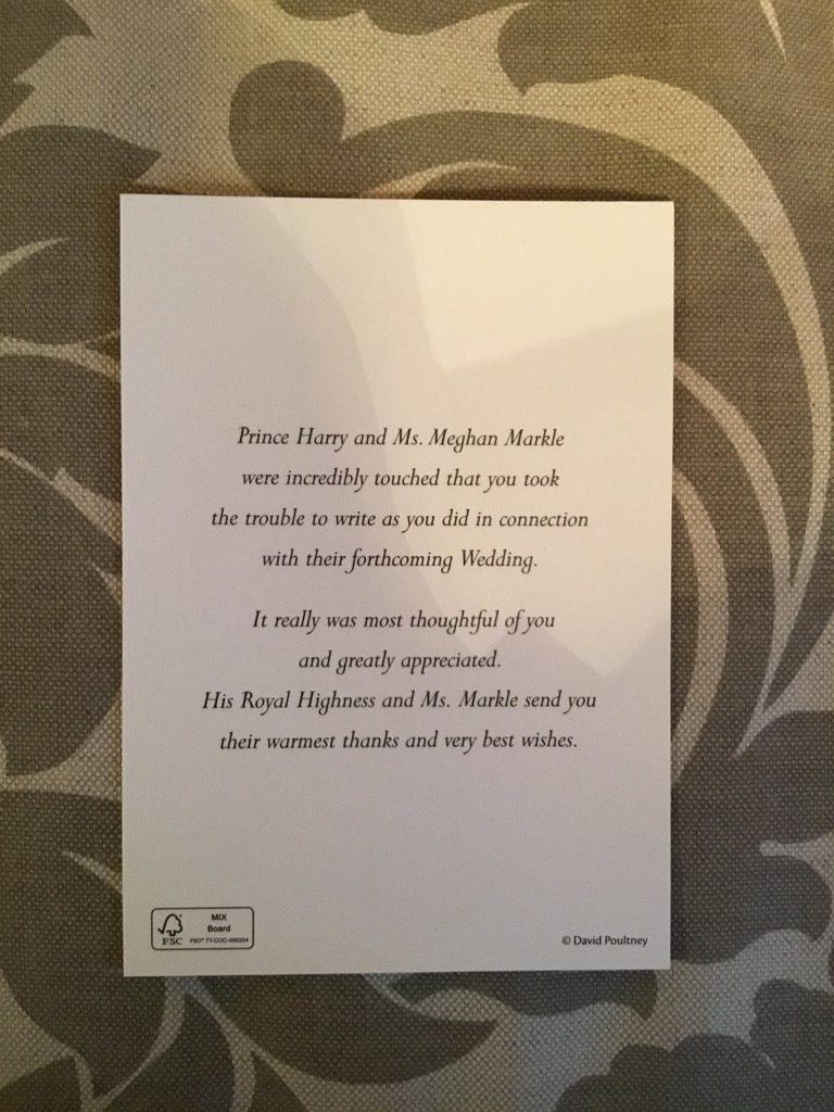 prince harry meghan markle letter of thanks
