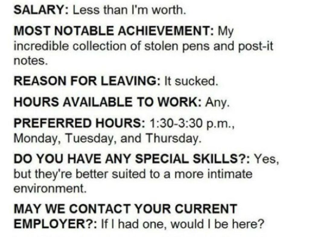 Bad job application