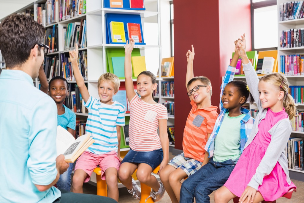 Man in Classroom with Children Awkward Moments
