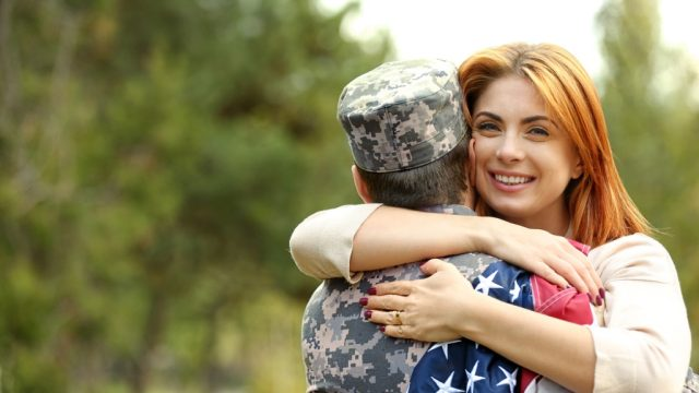 Man in army uniform military spouse