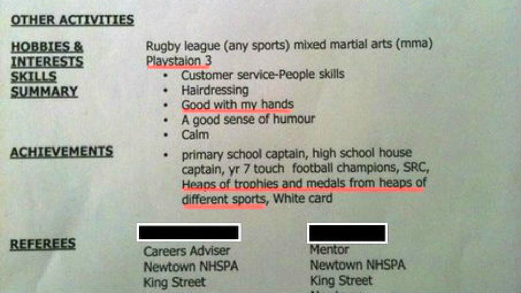Bad resume listing referees