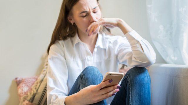 Sad Woman Looking at Phone 25 Years, math jokes