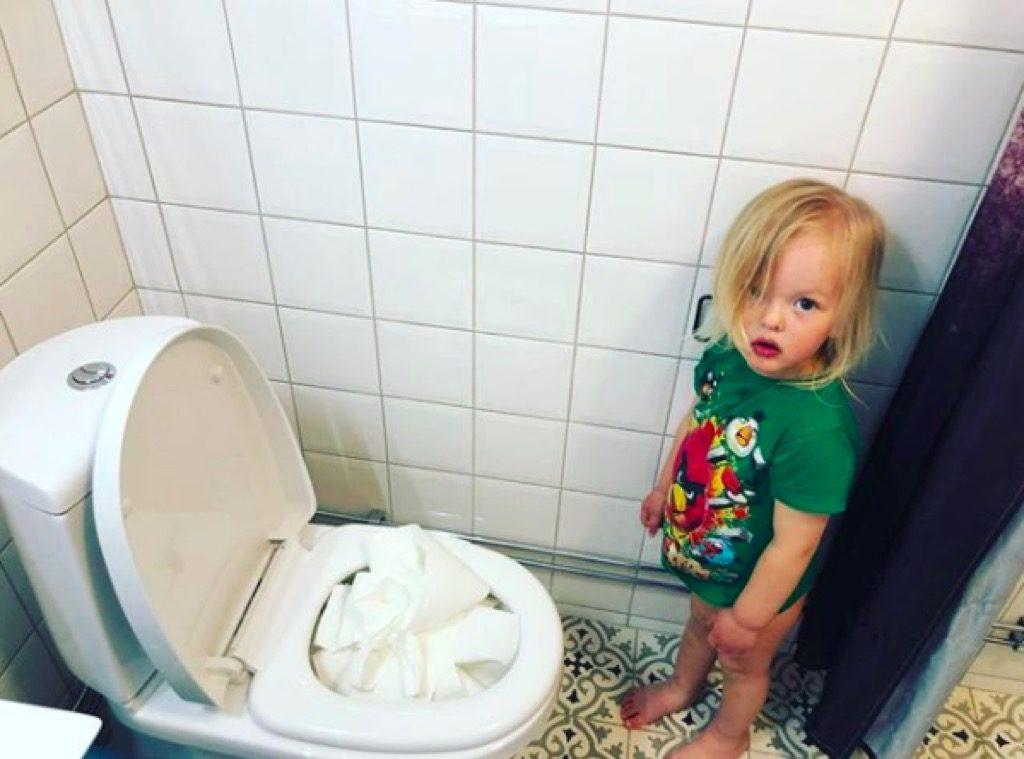Toilet paper funny kid photos