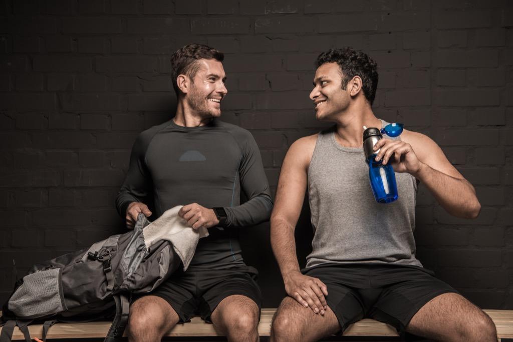 Two Men in Gym Locker Room Awkward Moments