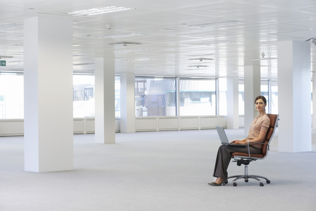 Woman Working Alone in Office Summer