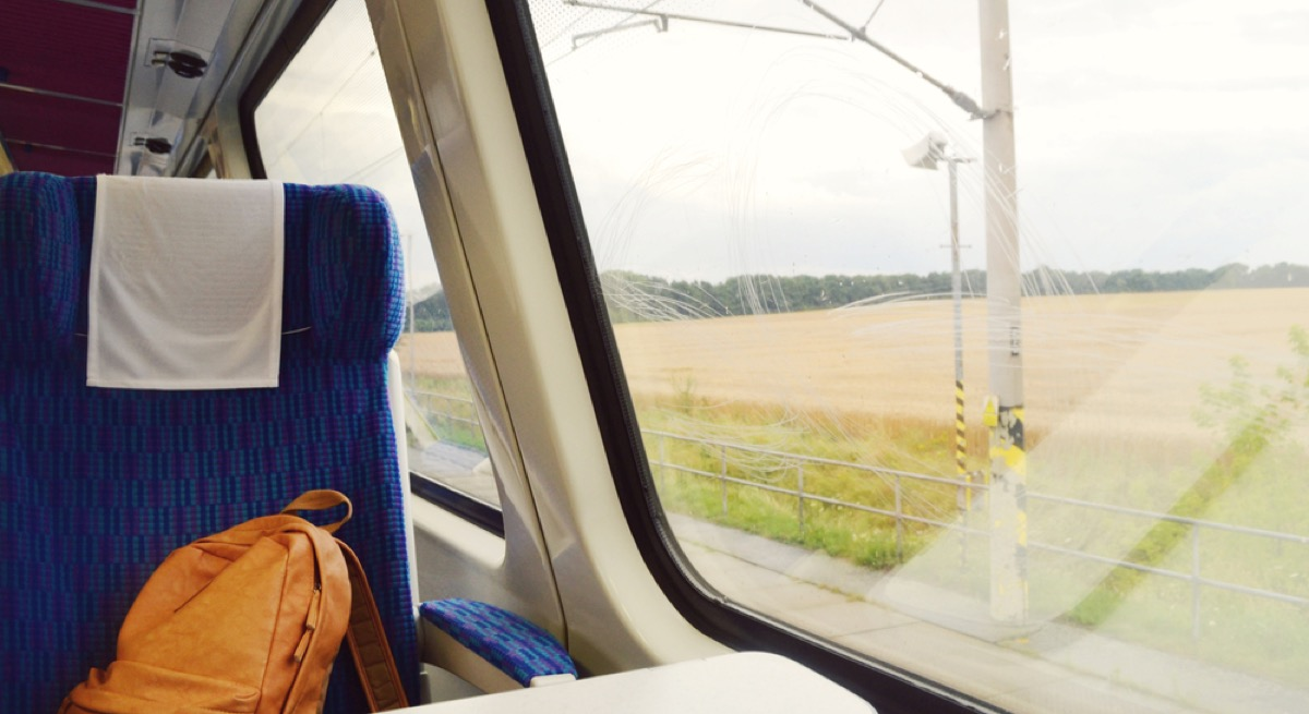 backpack on the seat of a commuter train, etiquette mistakes
