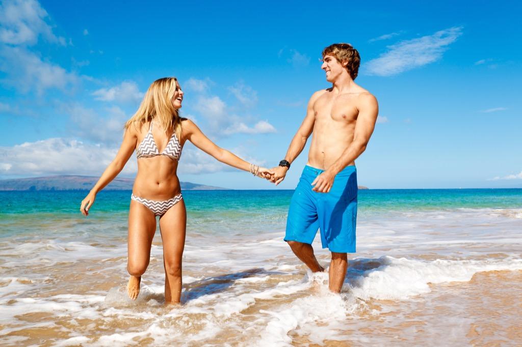 Couple on a beach Italians