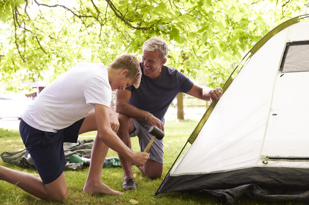 father son camping tent