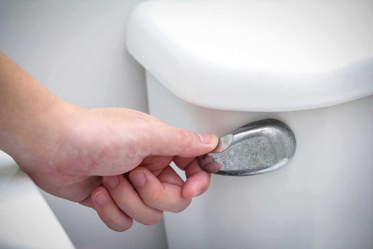 White hand flushing a toilet in the bathroom