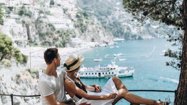 italian couple by the sea