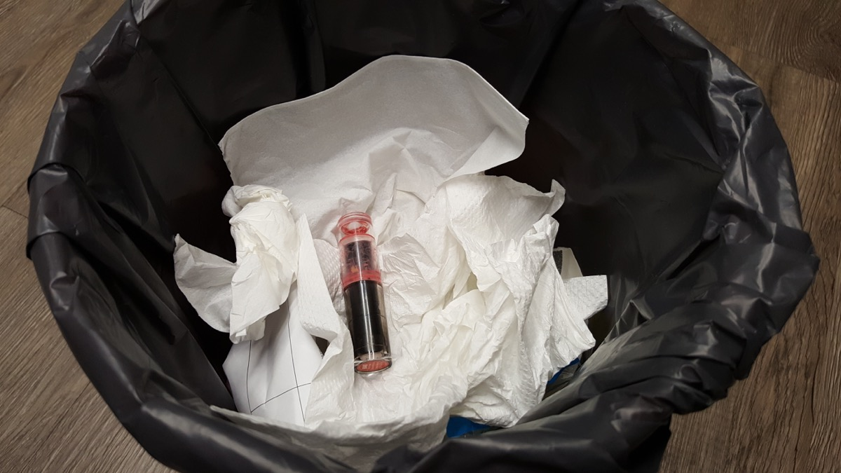 Lipstick in the garbage