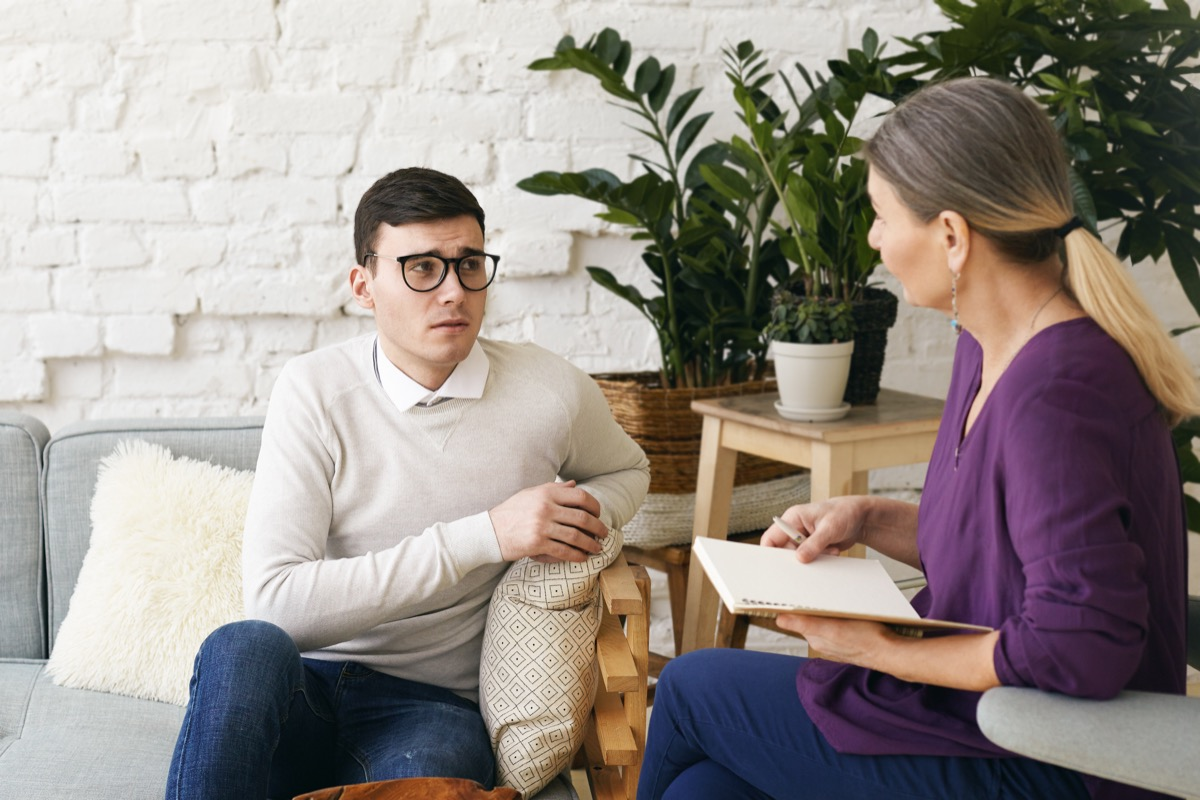 Man in a therapy session with his therapist
