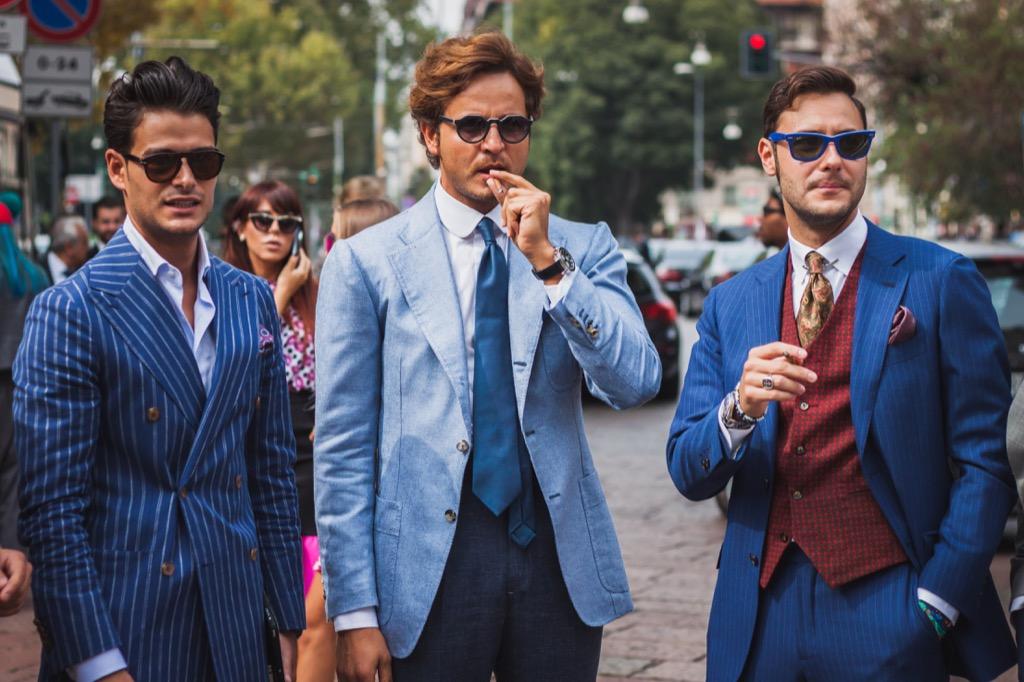 men in suits at milan fashion week
