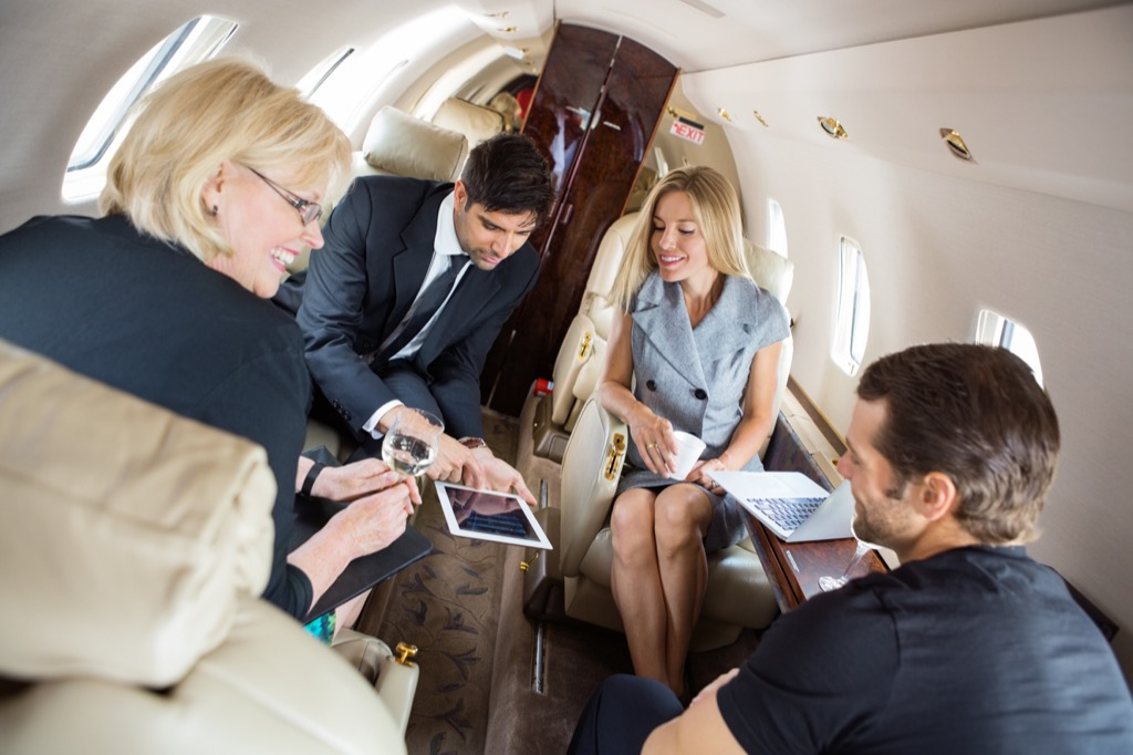 people on a private plane