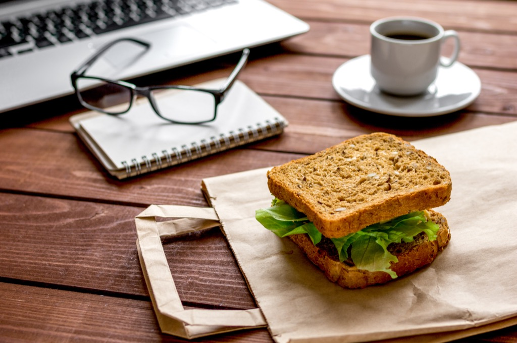 sandwich brown bag lunch desk