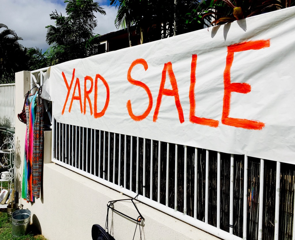 yard sale in the summer