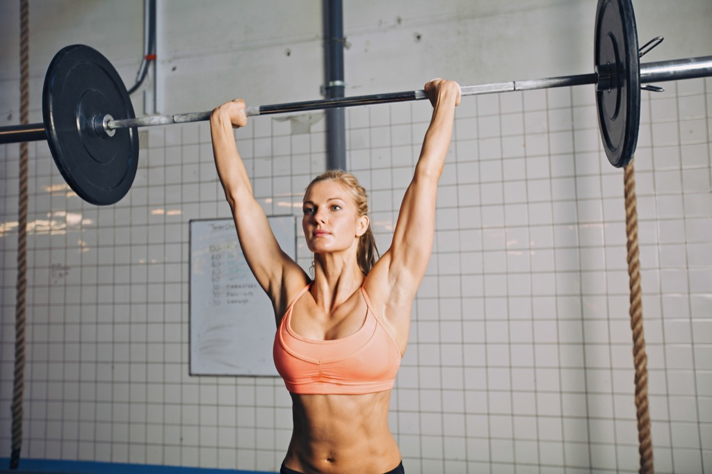 Barbell overhead press Exercises for Adding Muscle