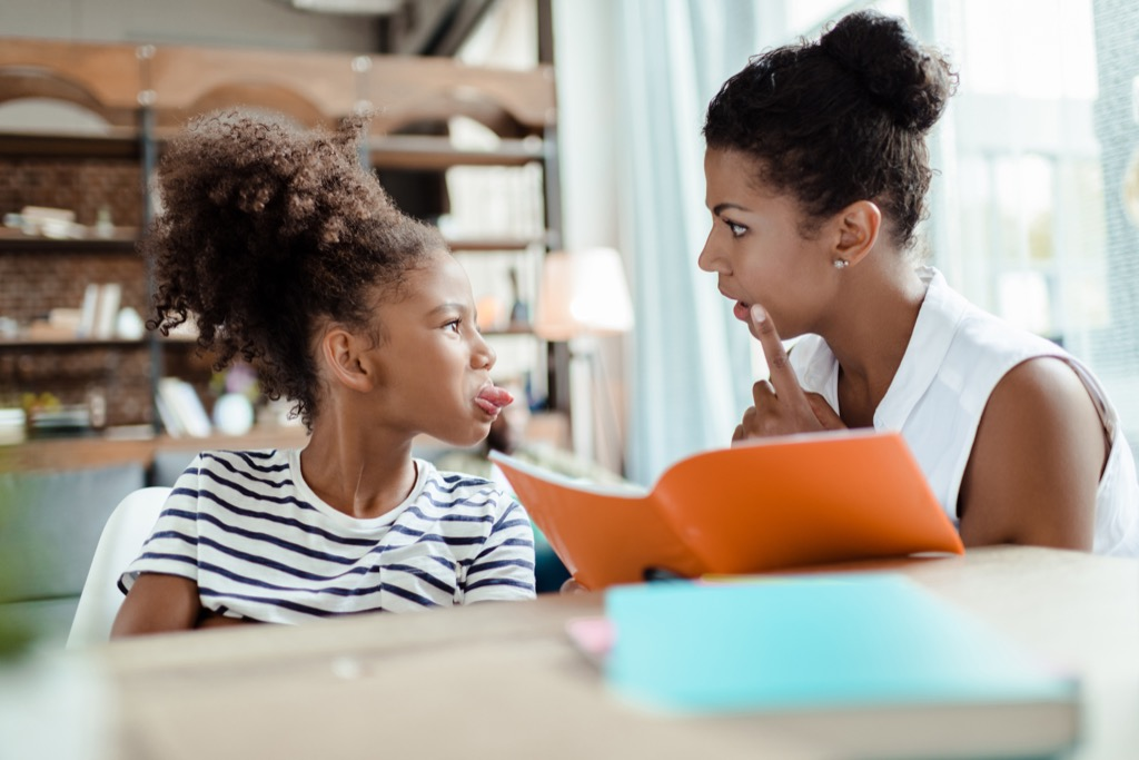 daughter sticking tongue out Moms Should Never Say