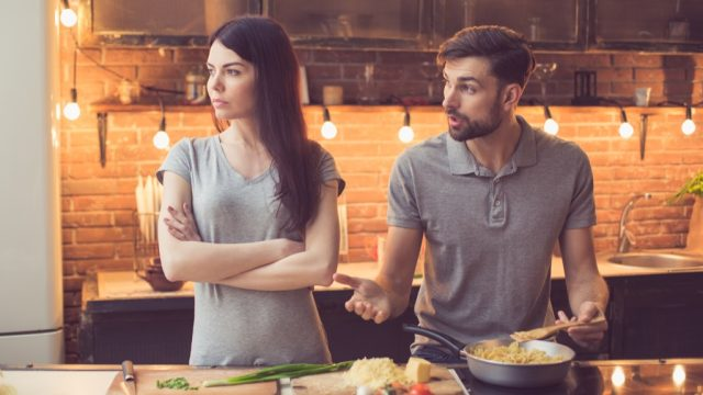man and woman cooking husband mistakes