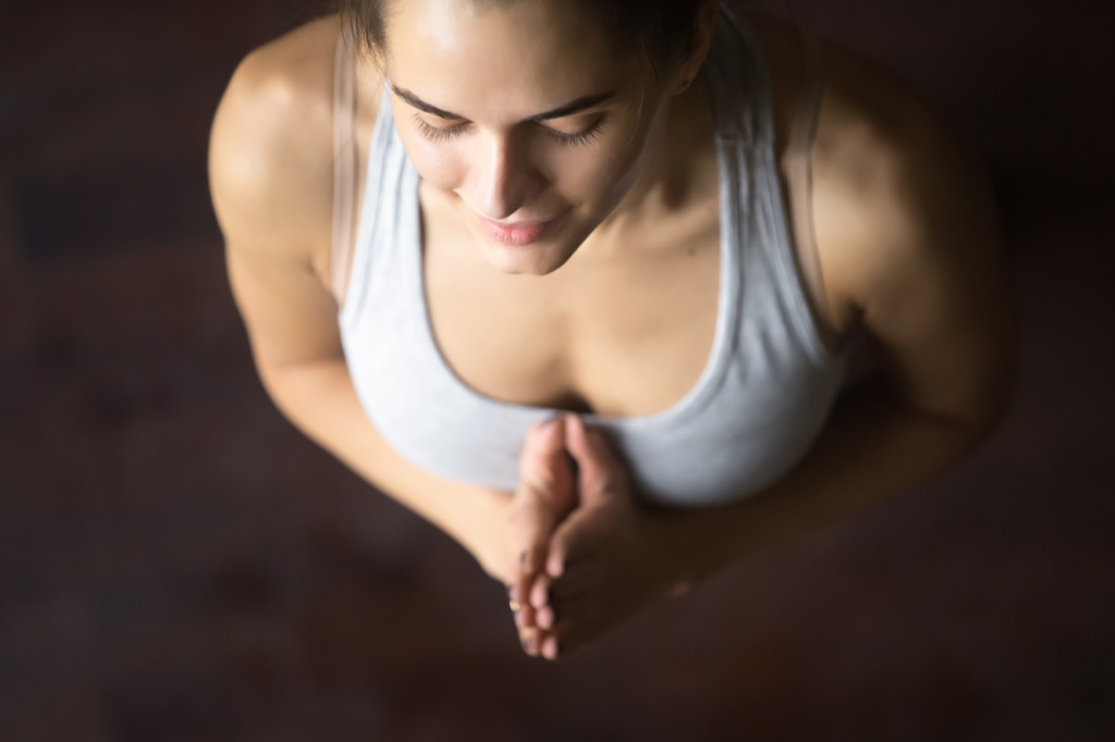 woman meditate standing