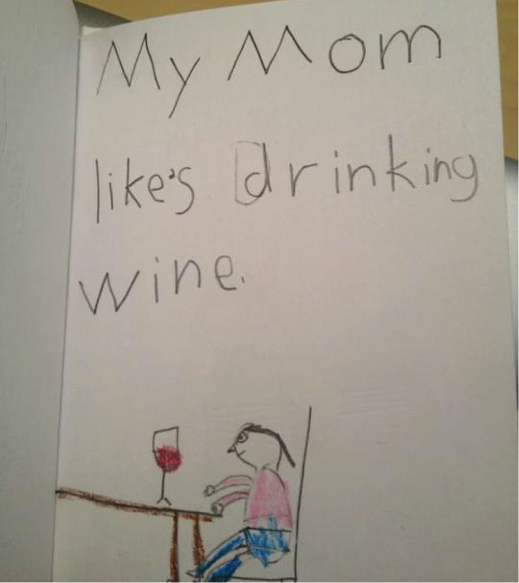 Drinking wine funny kid's assignments