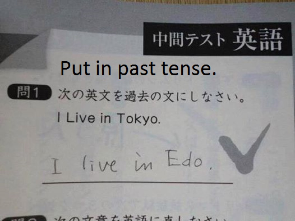 Japanese past tense funny kid's assignments