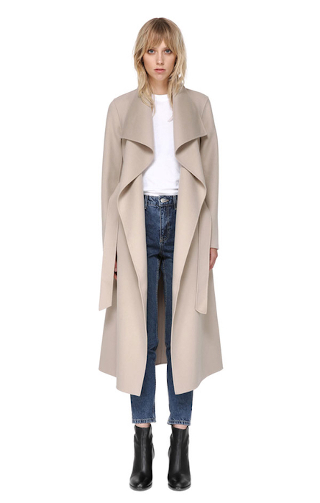Mackage 'Mai' Sand Belted Wool Coat with Waterfall Collar