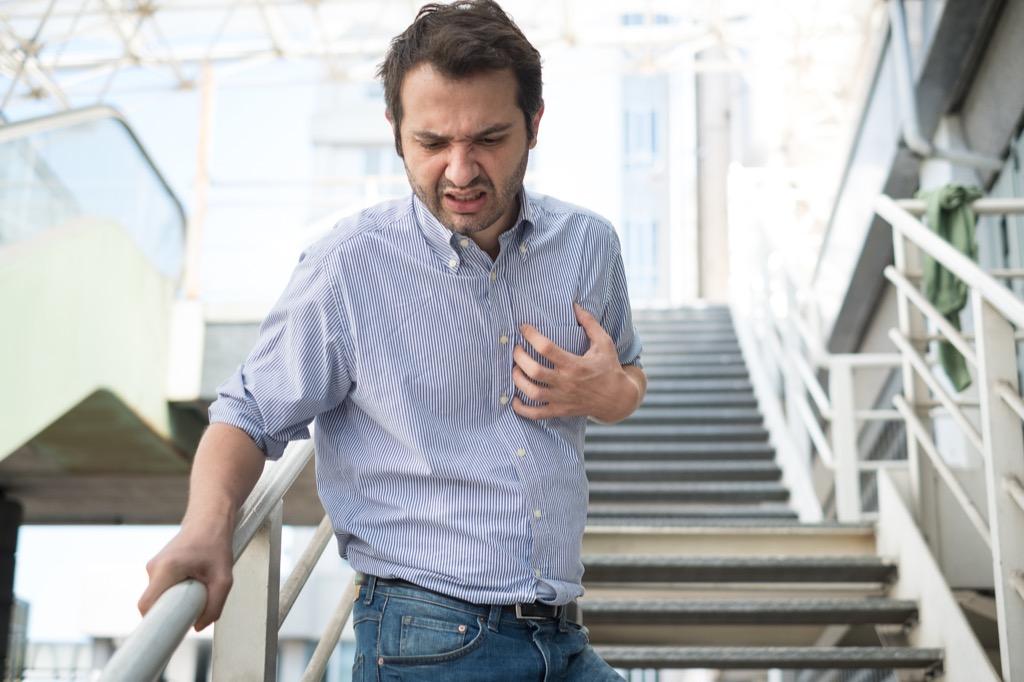 Man Having Trouble Breathing Sun